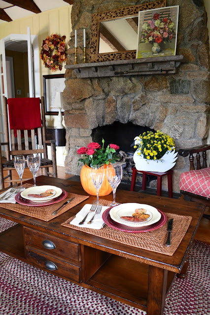Stone Fireplace And Table Set For Two