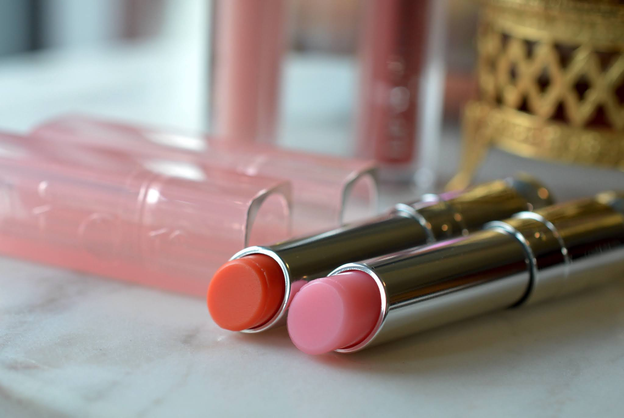Dior Lip Glow in coral and pink