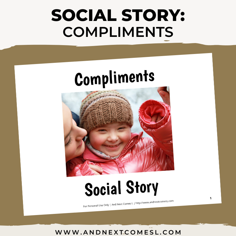 Printable social story for kids with autism about compliments