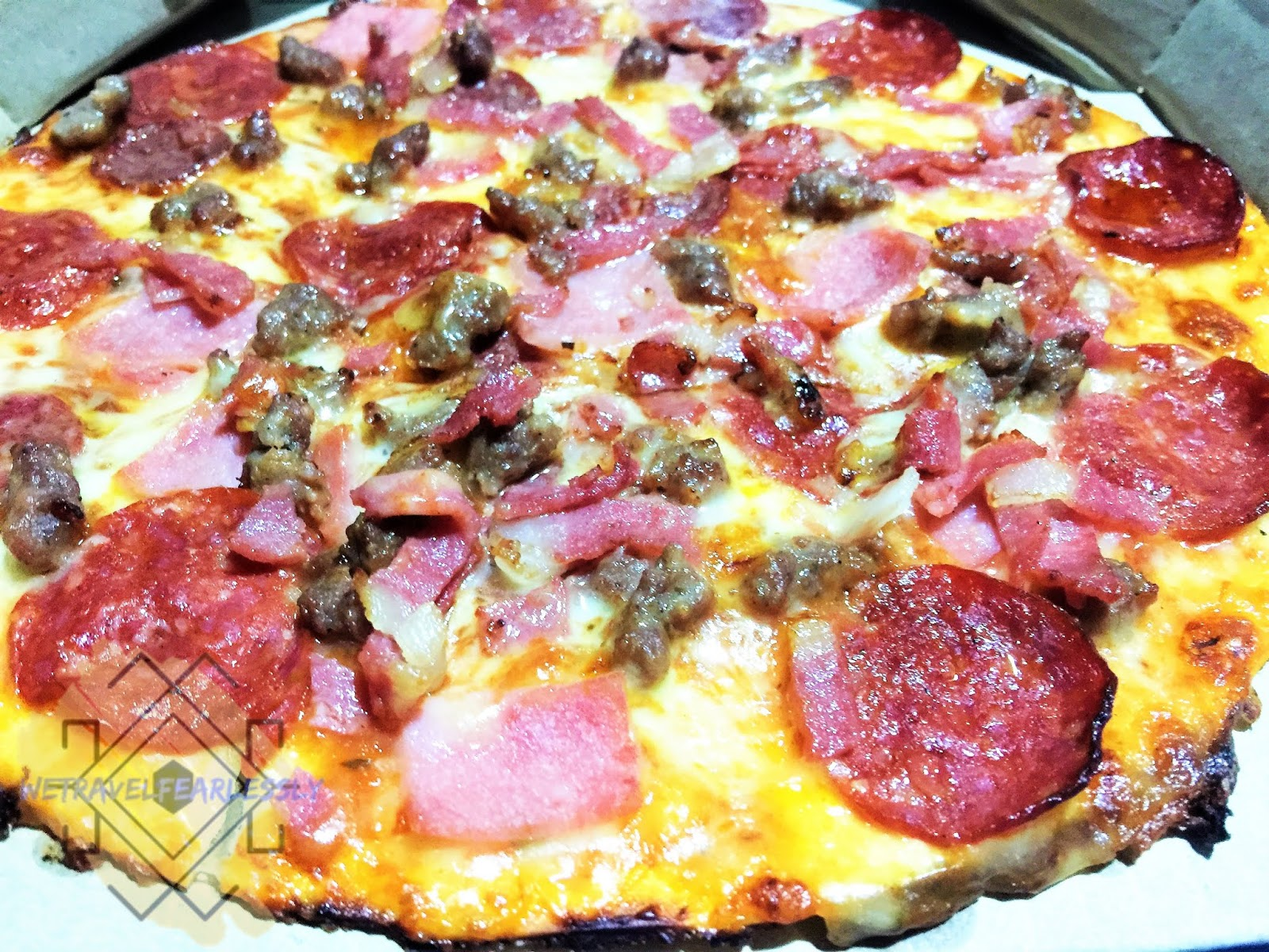 Thin Crust All Meat Pizza (PHP556) in Angel's Pizza in San Roque, Marikina