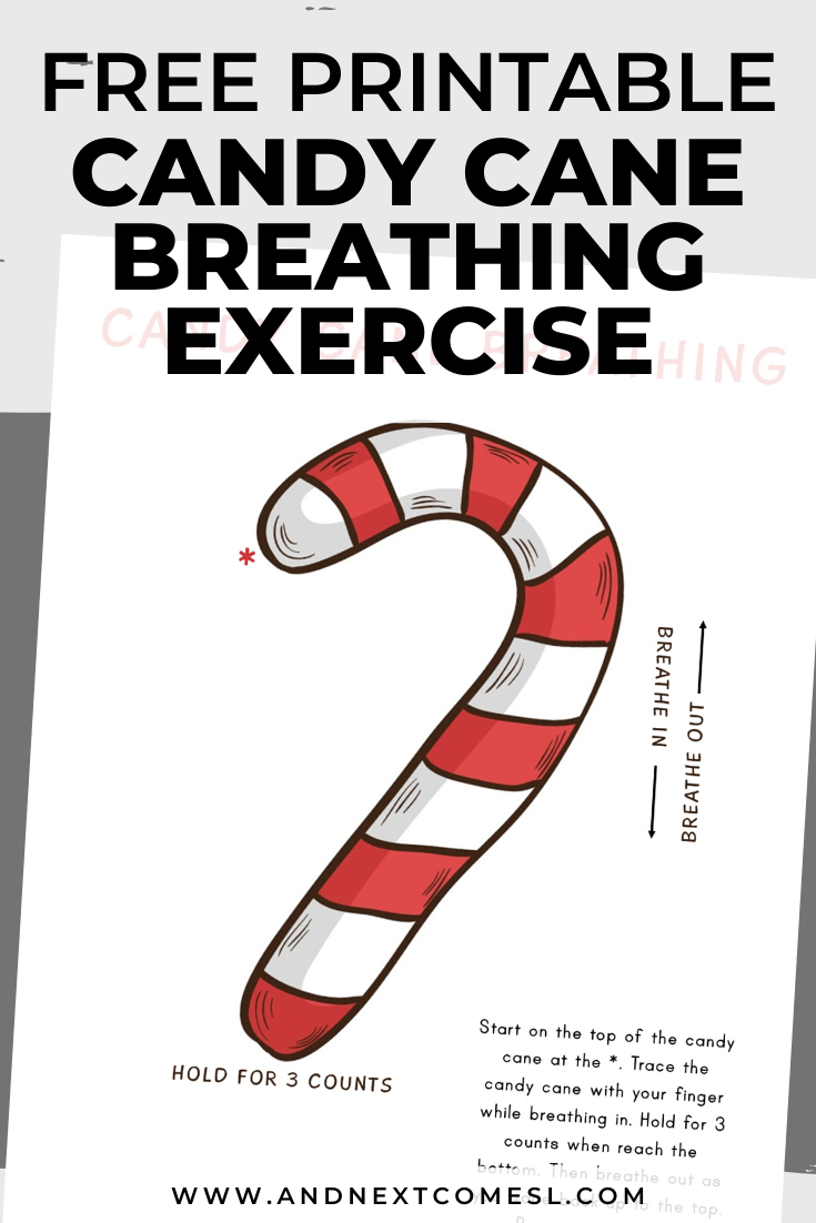 Candy cane deep breathing exercise for kids with free printable mindfulness poster