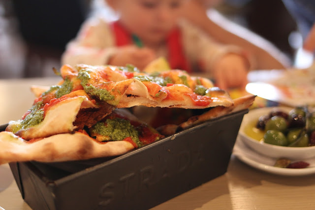 a review of strada at cardiff bay - GENOVESE flatbread and olives