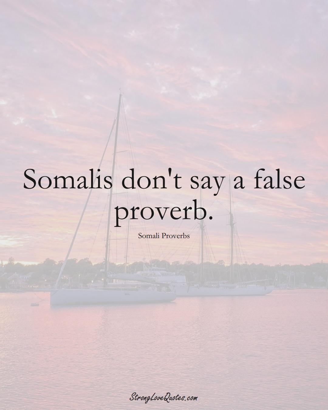 Somalis don't say a false proverb. (Somali Sayings);  #AfricanSayings