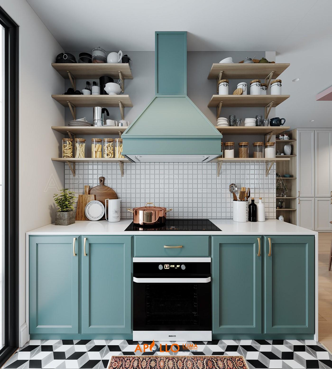Thiết kế phòng bếp căn hộ Gelexia Riverside phong cách Scandinavian