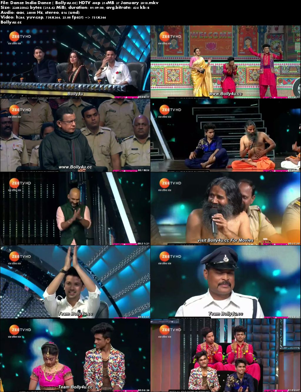 Dance India Dance HDTV 480p 200MB 27 January 2018 Download