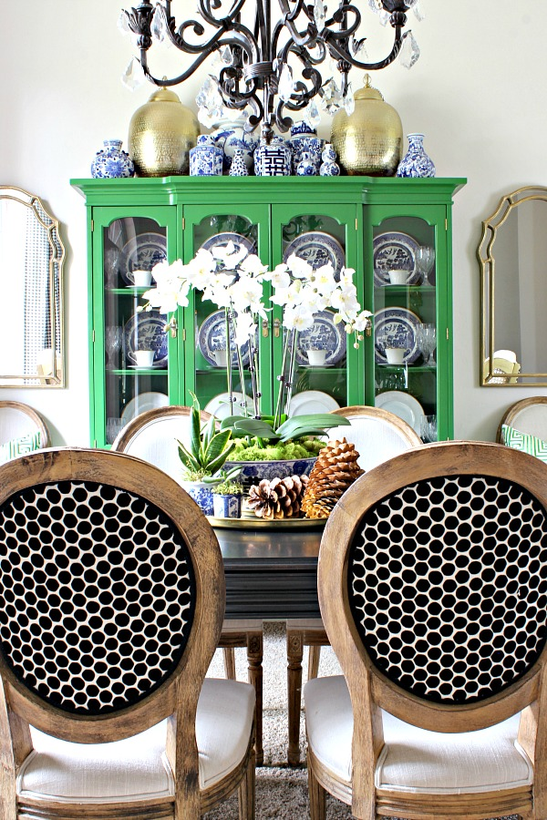 fall decor, green china cabinet, blue and white pottery, dining room styling