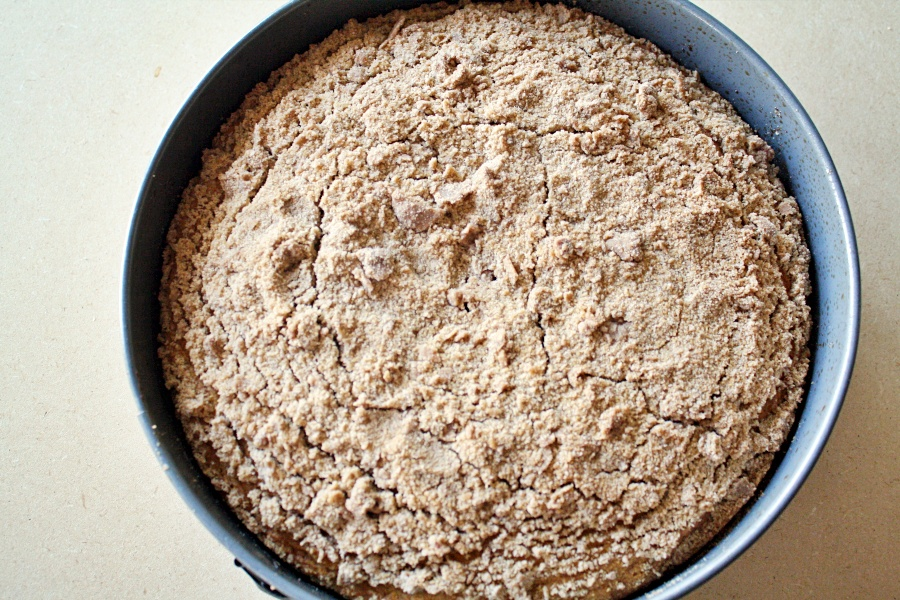 baked pumpkin coffee cake in pan