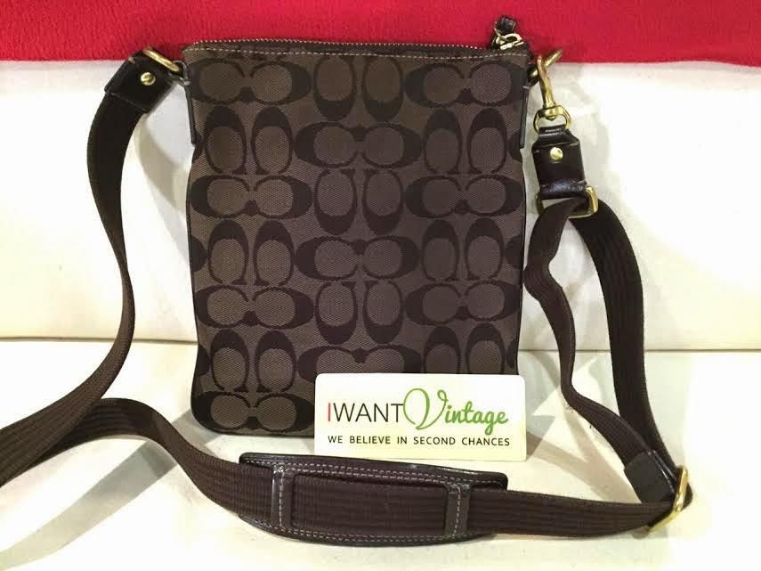 Coach Signature Stripe Crossbody Bag Dark Brown