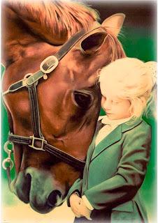 pintura de cavalo e menina