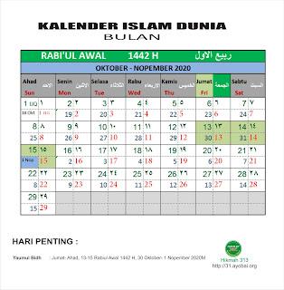 Kalender Islam Dunia Bersatu Bulan Rabiul Awal 1442 H