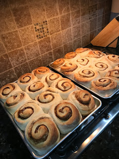huge cinnamon rolls on baking pans