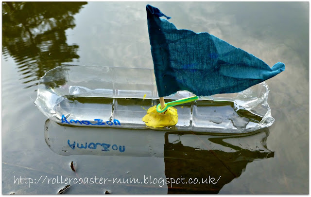 Model boat from plastic bottle