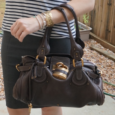 silver and gold mixed metal bracelet stack with brown chloe paddington bag | away from the blue