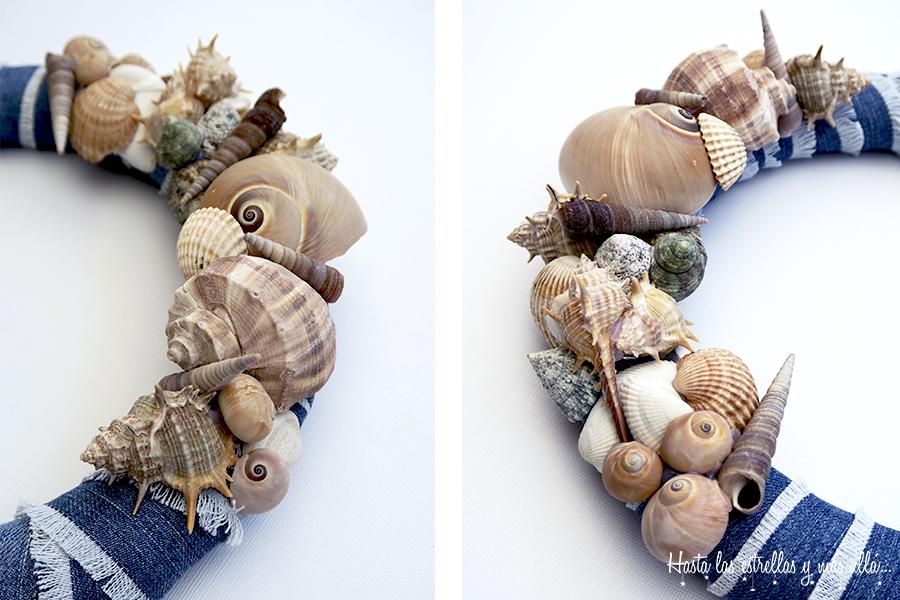 jeans shells summer wreath DIY corona verano vaquero conchas