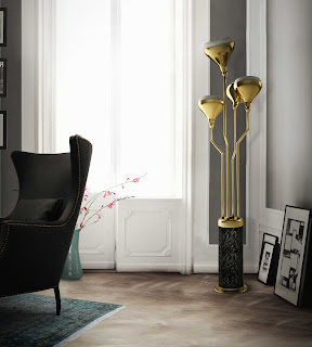 glossy modern floor lamp mixed with black arm chairs feats persian area rug and white exterior door