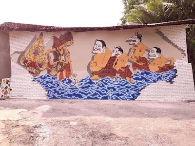 gambar mural wayang