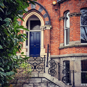 Dublin door with ornate brickwork on Northumberland Road in Ballsbridge