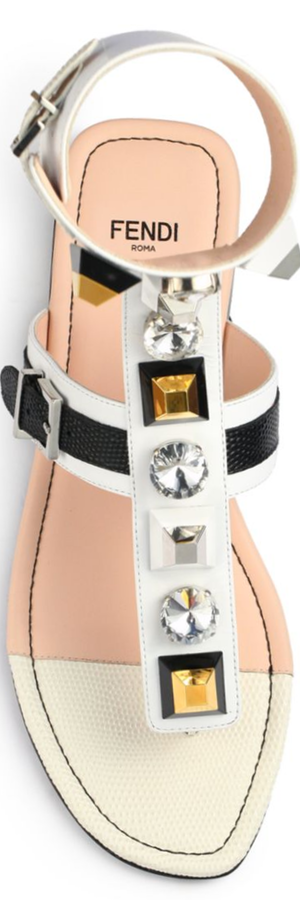 Fendi Embellished Leather Thong Sandals white