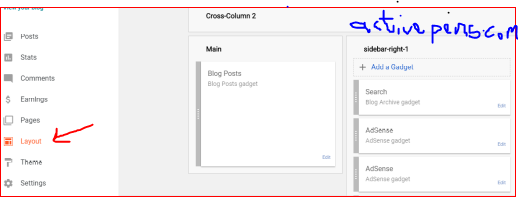layout. how to add adsense code to HTML head tags on blogger
