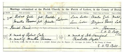 1877 UK Marriage Certificate between Robert Gale and Martha Parsons my great great grandparents
