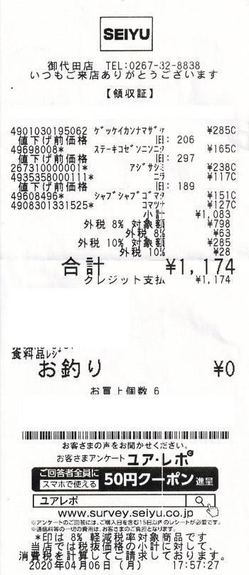 SEIYU 西友 御代田店 2020/4/6 のレシート