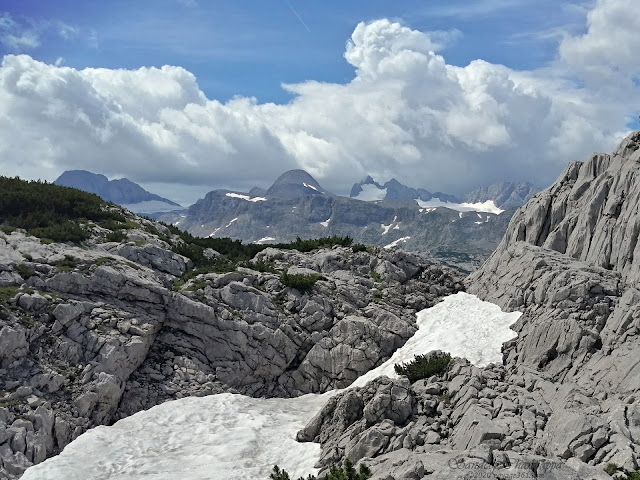 The last few surviving snow caps of the Dachstein mountains during late summer
