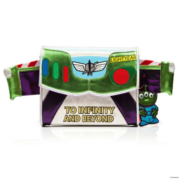 metallic Buzz Lightyear style clutch bag with wings on white background