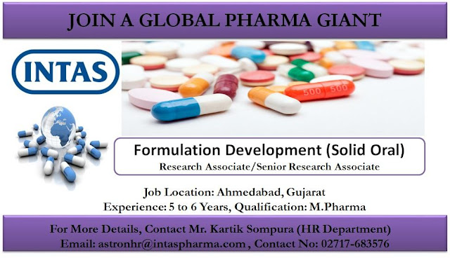 INTAS PHARMA - Job Openings in Process Development