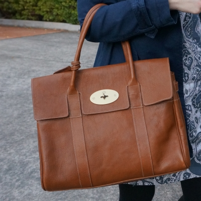 Mulberry Bayswater in Oak NVT leather with blue printed dress | awayfromtheblue