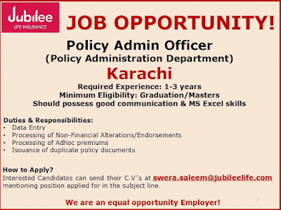Policy Admin Officer Jobs In Jubilee Insurance Karachi