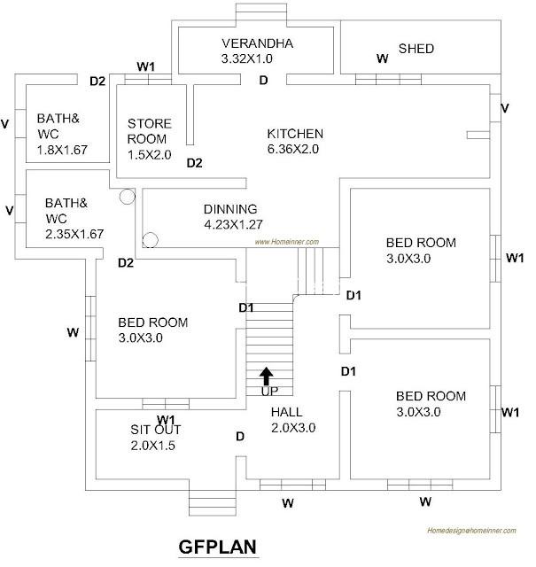 1010 Square Feet 3 Bed Room Floor Plan
