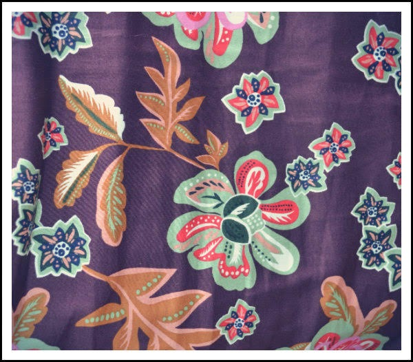 close up of brown floral fabric of dress