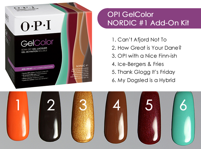 OPI GelColor Nordic #1 Add On Kit Swatches