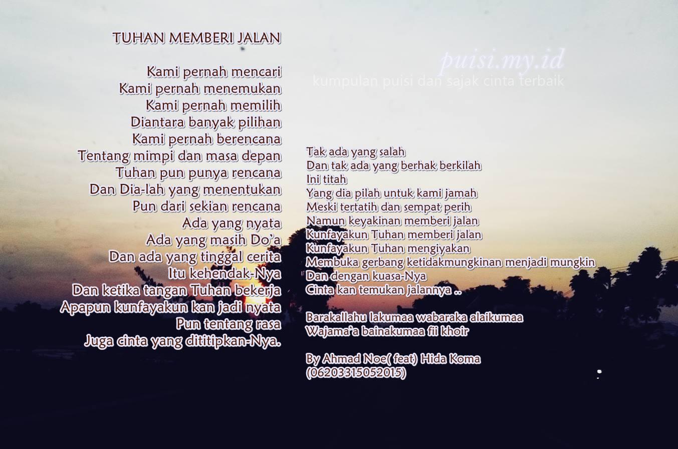 Gambar puisi pernikahan romantis berjudul Tuhan Memberi Jalan