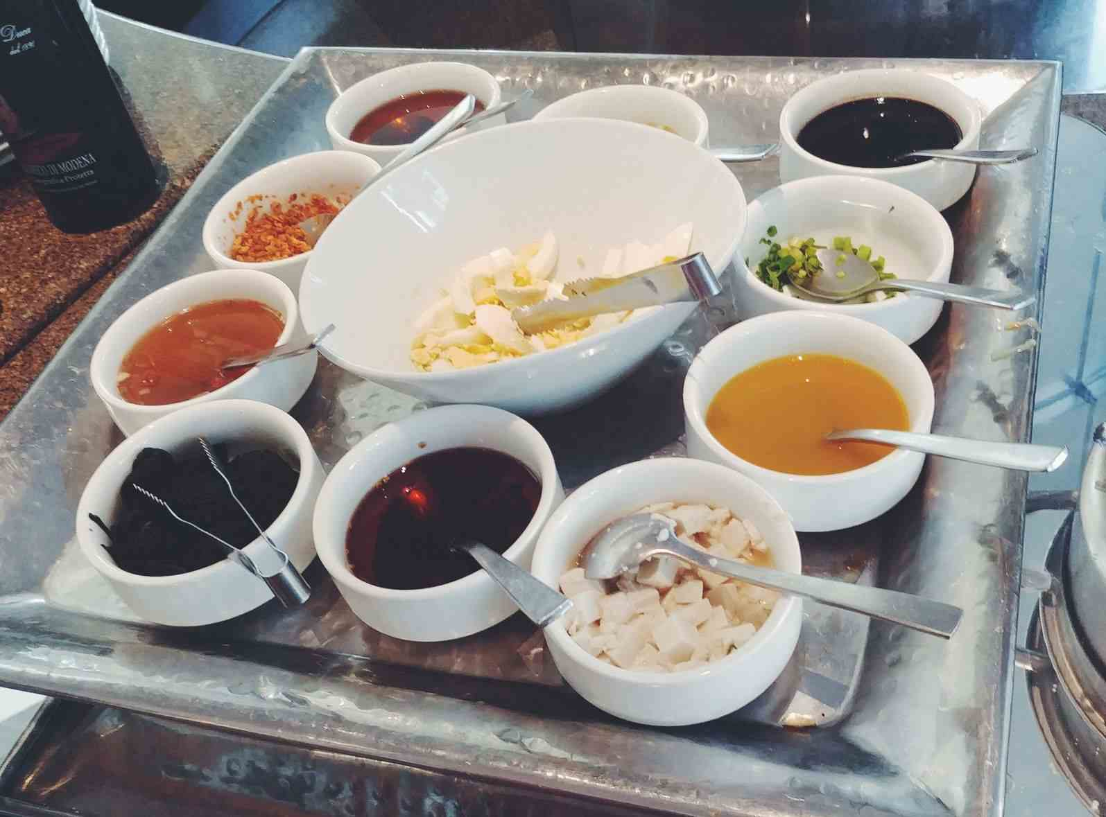 Condiments at Acaci Cafe in Acacia Hotel