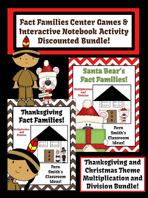 http://www.teacherspayteachers.com/Product/Multiplication-and-Division-Christmas-and-Thanksgiving-Fact-Families-Packet-990513