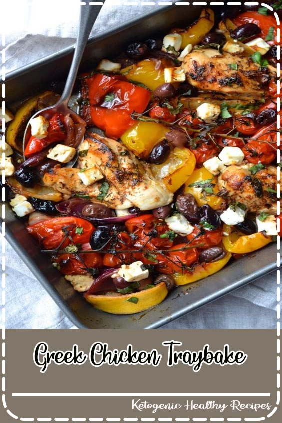 A super easy traybake packed with roasted peppers Greek Chicken Traybake