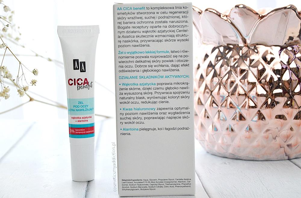 CICA benefit: żelu pod oczy ultra nawilżającego oraz kojącego płynu micelarnego