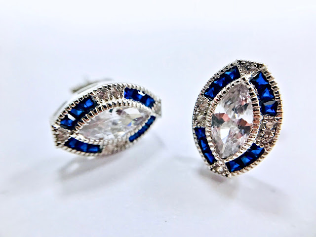 Diamond & Sapphire Cluster Marquise-Cut Art Deco Vintage Earrings