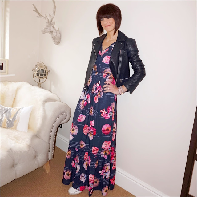 My Midlife fashion, massimo dutti navy leather biker jacket, debenhams studio by preen navy floral frilled maxi dress, golden goose superstar low top leather trainers