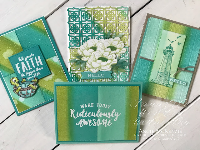 By Angie McKenzie for Around the World on Wednesday Blog Hop; Click READ or VISIT to go to my blog for details! Featuring the Sponge-Flip Background Technique along with the Many Medallions Dies, the Tasteful Touches bundle, the Forever Fern bundle, the Come Sail Away stamp set, the Ridiculously Awesome stamp set, the Back on Your Feet stamp set, the Stitched Rectangles Dies and the Pinewood Planks 3D Embossing Folder from the 2020-2021 Annual Catalog; #stampinup #backonyourfeetstampset #tastefultouchesbundle #pinewoodplanks3dembossingfolder #stitchedrectanglesdies #foreverfernbundle #comesailawaystampset #ridiculouslyawesomestampset #manymedallionsdies #spongeflipbackgroundtechnique #naturesinkspirations #watercoloringwithpencils  #fussycutting #handmadecards #20202021annualcatalog #stampinupinks #cardtechniques #stampingtechniques #awowbloghop #aroundtheworldonwednesdaybloghop