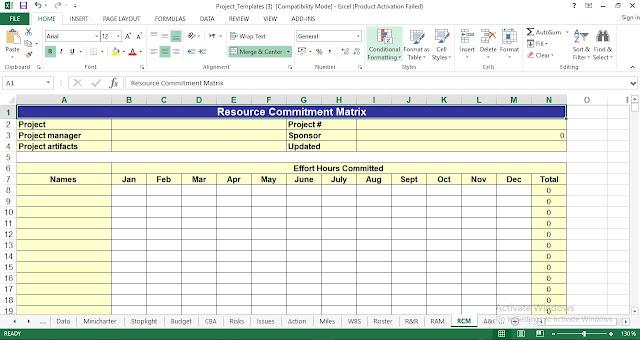 Resource Commitment Matrix Template