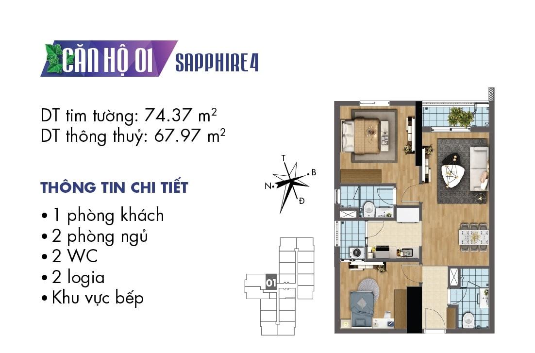 Mặt bằng căn hộ 01 Sapphire 4