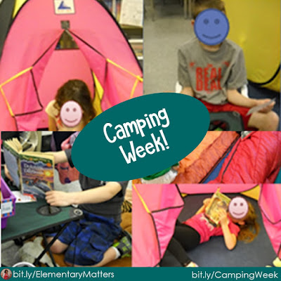 Camping Theme Week! Here are some ideas for turning your classroom into a camping area, and make learning and reviewing skills fun!