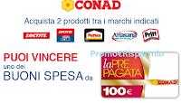 Logo Con Henkel riempi il carrello in Conad 2019 e vinci card Conad da 100 euro