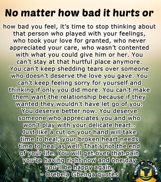 No matter how bad it hurts