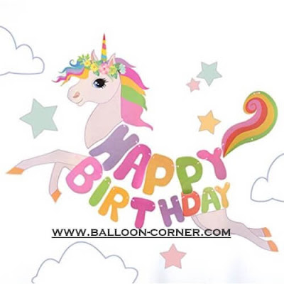 Bunting Banner HAPPY BIRTHDAY Motif Unicorn