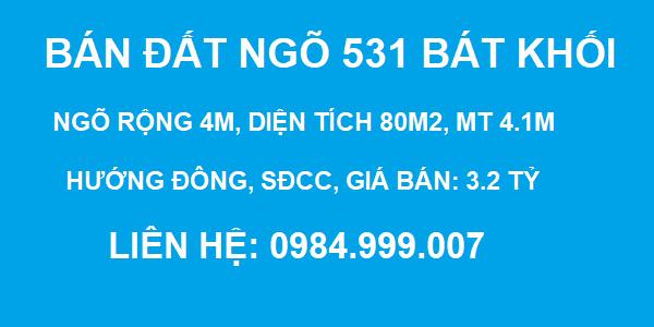 Bán đất Ngõ 531 Bát Khối, Thạch Bàn, Ngõ 4m, DT 80m2, MT 4m, SĐCC, giá 3.2 tỷ, 2020
