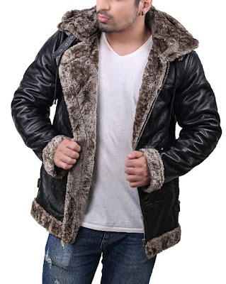 Mens Faux Shearling Hoodie Jacket