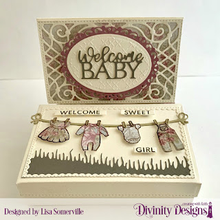 Stamp/Die Duos: Bless this Baby, Baby Clothesline Custom Dies: The Giving Gift Box, Gift Card Holder, Sentiment Strips, Grass Hill, Ovals, Ornate Ovals Embossing Folder Cross Stitch Paper Collections: Shabby Rose, Shabby Pastels